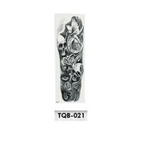 etiqueta engomada del tatuaje rosas al por mayor-Full Flower Arm Tattoo Sticker Esqueletos y Rosas Pegatinas de Tatuaje Temporal Transferencia de Agua Tatuaje Manga Body Art