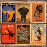 cartel de lona vintage al por mayor-Zebra Giraffe Travel South Africa Canvas Canvas Vintage Wall Pictures Kraft Posters Coated Wall Stickers Decoración del hogar Regalo