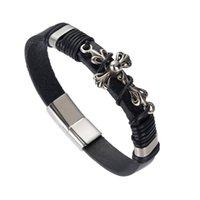 bracelet magnétique noir achat en gros de-Bracelet magnétique Bracelets en cuir tressé brun noir Bracelet Bracelets Bracelets