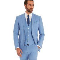 costumes bleu clair pour hommes achat en gros de-Nouvelle mode romantique lumière bleu Lounge costume mariage Tuxedo hommes costume dernier manteau pantalon conceptions simples costume (veste + pantalon + gilet)