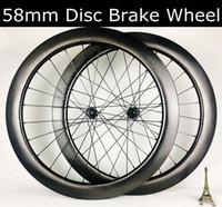 frenos de disco de bicicleta de carretera de carbono al por mayor-700C 58 / 45mm ruedas de carbono sin cámara de carreteras freno de disco de la bici hubs juego de ruedas D350 T240 hoyuelo de carbono de disco