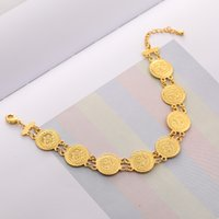 pavo bangle al por mayor-Pulsera con monedas étnico de la vendimia encanto medio oriente para la joyería Turquía Mujeres moneda de metal color oro brazalete de regalo