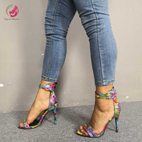Wholesale colorful sexy heels resale online - Original Intention Sexy Multi Colors Snakeskin Sandals Woman Open Toe Thin High Heels Colorful Concise Elegant Woman Pumps Party