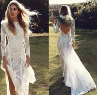 escovar vestidos de noiva venda por atacado-2019 lindo bainha escova trem manga comprida vintage lace vestido de noiva custom made lace vintage praia boho vestido de noiva vestidos de novia