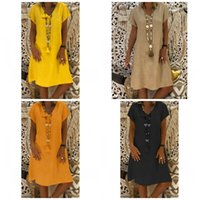 Wholesale swing color resale online – V Neck Princess Dress Basic Short Sleeve Mulit Color Loose Knee Length Dress Swing Tunic Rapture Women Summer Home Clothing baE1