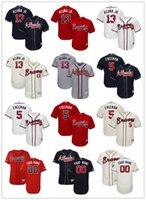camisas de beisebol bege venda por atacado-2019 homens jovens das mulheres da juventude Atlanta 13 Ronald Acuña Jr. 5 Freddie Freeman vermelho branco cinza azul escuro bege personalizado camisola de beisebol Braves