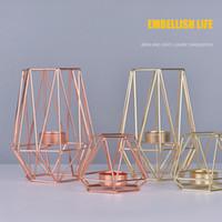 metal çay ışık tutacakları toptan satış-2 adet / takım İskandinav Tarzı Ferforje Geometrik Mumluklar Ev Dekorasyon Metal El Sanatları Gül Altın Mumluklar