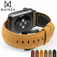 bracelets de montres en cuir vintage achat en gros de-Maikes Nouveaux bracelets de montre en cuir vintage pour bracelet Iwatch Apple Watch Band 44mm 40mm 42mm 38mm Series 4 3 2 1 Bracelet T190620