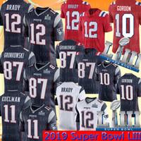 jersey de fútbol de élite blanco al por mayor-12 Tom Brady Jersey New Patriots 87 Rob Gronkowski 11 Julian Edelman 10 Josh Gordon 15 Hogan Cooks Camisetas de fútbol Super Bowl LIII