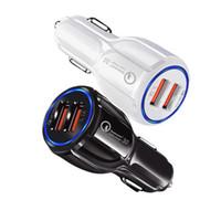 mini-handy-ladung großhandel-QC3.0 Auto Ladegerät Für Handy Dual USB Auto Ladegerät Schnellladung 3.0 Schnellladeadapter Mini Auto Telefon USB Ladegerät