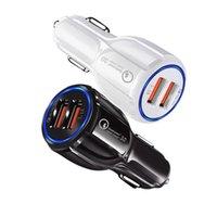 adaptador usb para móvil al por mayor-QC3.0 Cargador de coche para teléfono móvil Dual USB Cargador de coche de carga rápida 3.0 Adaptador de carga rápida Mini cargador de teléfono USB para coche