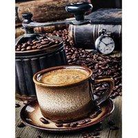 café emoldurado da pintura venda por atacado-PBN diy pintura arcylic café por números na lona emoldurado retratos da parede da arte para sala de estar decoração de casa