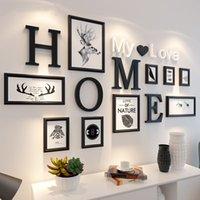 parede branca foto preto venda por atacado-9pcs europeus e americanos estilo preto branco retro foto do quadro da foto de família de madeira combinação decoração da parede quadro