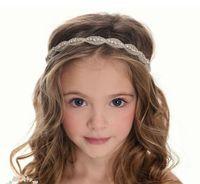 pedaços de cabelo de casamento para noiva venda por atacado-Strass meninas Head Pieces Júnior Da Dama De Honra Acessórios de Noiva Headband Hairwear Cristal flor headban Acessórios Do Casamento Do Cabelo