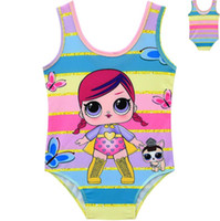 Wholesale doll lowest online - Girls Cartoon Doll Bikini Rainbow Striped Summer Kids One Piece Swimsuit Suprise Bathing Suit Beachwear OOA6817