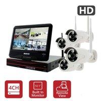 4channel drahtlose kamera-kits großhandel-4Ch Wireless IP Kits Heimsicherheits-CCTV-System wifi IP-Kamera 720P 4Channel HD Wireless-System mit 10,1-Zoll-Monitor für Landhaushaus