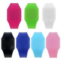 relógios plásticos de tela de toque venda por atacado-Touch Screen 1Pcs Best Selling Unissex Digital LED Jelly Assista Relógio de pulso de plástico ultra-fino Relógio
