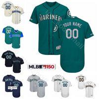 suzuki 11 großhandel-Seattle Baseball Mariners 24 Ken Griffey Trikots 11 Edgar Martinez 51 Suzuki Ichiro 51 Randy Johnson 34 Felix Hernandez Benutzerdefinierter Name