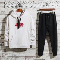 erkekler spor set hoodies kış toptan satış-2019 Erkekler Spor Hoodie Ve Tişörtü Siyah Beyaz Sonbahar Kış Jogging Yapan Spor Takım Elbise Erkek Ter Takım Elbise Eşofman Set Artı Boyutu MT38