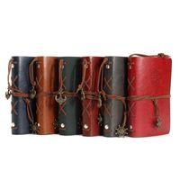 revistas em couro venda por atacado-Vintage Leather 6pcs presente Capa Notebooks Personal Diary Agenda Revistas papel Kraft Sketchbook Handmade viagem Notebook / lot