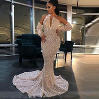 Wholesale gold shiny long prom dresses for sale - Group buy Shiny Sequins Prom Dresses With Detachable Sleeves Strapless Mermaid Evening Gowns Sweep Train Yong Girls Party Dress Cheap vestidos de fies