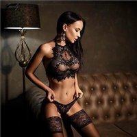 lingerie de senhora venda por atacado-Moda Hot New Sexy Preto Bra Set Mulheres senhoras Erotic Lingerie Set Vest Top Bra cueca e corda G