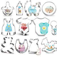 bebek ayı şişesi toptan satış-Bebek Duş Çerez Kesici Seti - 12 Adet -Teddy Bear, Onesies, Önlük, Çıngırak, Şişe, Bebek Arabası, Sallanan At Fondan / Bisküvi Kesiciler