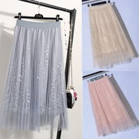 Wholesale high waist petticoats for sale - Group buy 2019 Summer New Layers Tulle Tutu Women Pleated Skirt High Waist Petticoat Underskirt