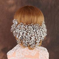 ingrosso corona del fiore del rhinestone-Strass Accessori sposa monili di lusso ha lavorato a mano di lusso Fiore Crown Tiara nuziale strass Fiore dei capelli accessori fatti a mano