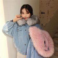 jeans chaqueta corta para mujer al por mayor-las mujeres chaqueta corta de mezclilla invierno gruesa chaqueta de Jean la piel de imitación collar Fleece con capucha Denim cubre a la hembra Caliente dril de algodón outwear # g3
