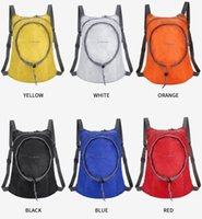 Wholesale yellow waterproof backpack for sale - Group buy Outdoor Travel Folding Bag Casual Storage Bags Waterproof Nylon Hiking Camping Rucksack Lightweight Collapsible Sport Backpack Free DHL M38F