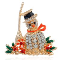 Wholesale american christmas snowmen for sale - Group buy New Fashion Bribeauty Santa Claus Broom Snowman Brooch Classic Style Cartoon Brooch Pin Rhinestone Christmas Gift