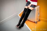 sandálias de salto alto venda por atacado-Euramerican Comércio Exterior Ultra High Heel Moda Over-The-Knee Botas Botas De Camurça Outono Lado Zipper Sandálias Botas