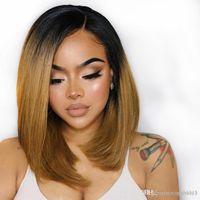 Wholesale short bob hair cuts for women resale online - 1b Ombre Lace Front Human Hair Wigs For Black Women Straight Brazilian Short Bob Cut Deep Part Colored Wigs Density Remy