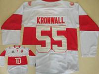 kronwall jersey venda por atacado-Asas Vermelhas Detroit # 55 Niklas Kronwall Jersey Inverno Clássico Do Vintage Branco Costurado Kronwall Hóquei No Gelo Jerseys Shpiping Livre