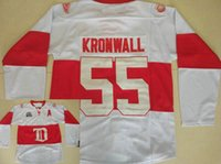 ingrosso jersey di kronwall-Detroit Red Wings # 55 Niklas Kronwall Jersey Inverno Classic Vintage Bianco cucita Kronwall Maglie di hockey su ghiaccio Free Shpiping