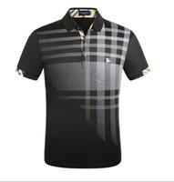 erkekler için polyester casual gömlekler toptan satış-G2Y moda burburry erkek casual kısa kollu yeni yaka t gömlek erkekler polo gömlek kısa kollu marka tişörtü giymek