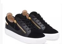 hombre zapatos de cremallera al por mayor-NUEVOS zapatos Zanotti Italia de diseño, de cuero genuino, zapatos casuales, con cremallera dorada, hombres y mujeres, zapatillas de deporte de bajo nivel superior, 35-47