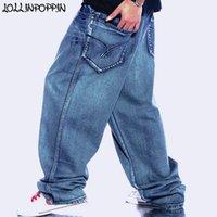 şişkin baskılı kot pantolon toptan satış-Erkekler Retro Baggy Jeans Vintage Konfeksiyon Yıkanmış Denim Pantolon Erkek Hiphop Kaykaycı Kot Mektuplar Baskılı Geniş Bacak Kot Y190603