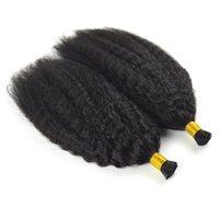 uçlu insan saçı toptan satış-Ben afro sapıkça kıvırcık Remy Öncesi Saç Gümrük Uzantısı İpucu Moğol Kinky Kıvırcık Saç 14 TO18 İnç Keratin Kapsüller İnsan Fusion Saç Tırnak