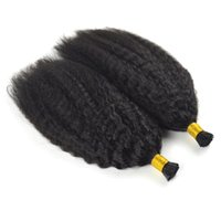 Wholesale bond nails resale online - Mongolian Kinky Curly Hair To18 Inch Keratin Capsules Human Fusion Hair Nail I Tip afro kinky curly Remy Pre Bonded Hair Extension