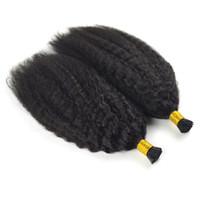 unhas de ligação venda por atacado-Prego mongol Kinky cabelo encaracolado 14 a 18 polegadas queratina Cápsulas Humano Cabelo Fusão I Dica afro crespos encaracolados Remy Pré Bonded Hair Extension