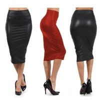 ea48166bd27f2 PU Leather Skirts Sexy Women Bandage High Waist Pencil Skirts Office Lady Faux  Leather Harajuku Long Skirt Plus Size Midi Autumn. 36% Off