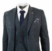 ingrosso tuxedos grigio scuro per prom-A spina di pesce Tweed 3 pezzi di lana Tute Vintage Dark Grey Classic Office Business Suit Suit Fit smoking Prom (jacket + pants + vest)