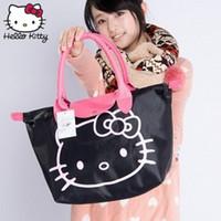 kızlar el çantaları yeni stil toptan satış-Hello Kitty El Yapımı Yeni Stil 2019 Kadın El Çantaları Güzel Kızlar Alışveriş Çantası Karikatür Taşınabilir Moda Noel Peluş Sırt Çantası
