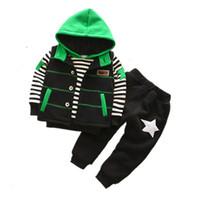 küçük çocuklar kostümleri toptan satış-BibiCola Küçük Çocuklar Sıcak Giyim Setleri Bebek Erkek Kış Artı Kadife Spor Takım Elbise Çocuk Erkek Çizgili Moda Eşofman Kostüm