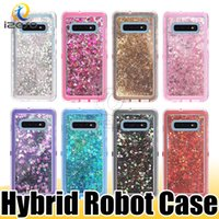 Wholesale crystal liquids resale online - 3 in Robot Case Crystal Bling Glitter Liquid Quicksand Back Cover for Samsung S10 Plus S10e Note9 S9 S8 J7 J3 izeso