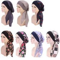 Wholesale muslim head hijab for sale - Group buy Women Turban Hat Colors Muslim Hijab Flower Printed Turban Cap Cover Head Scarf Wrap Headwear Strech Bandana LJJO7656
