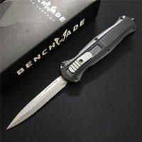 mini poche edc achat en gros de-Banc Mini Infidel Double action Couteaux automatiques 3350 3300 3310 3310BK D2 Acier Double lame EDC Poche Tactical gear Couteau de survie