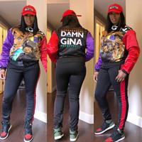 imagens de mulheres casacos venda por atacado-Mais recente Calças Mulheres Moda duas peças jogos de impressão bonito contraste cores mangas compridas Jacket com calças compridas Casual Outfits imagem real
